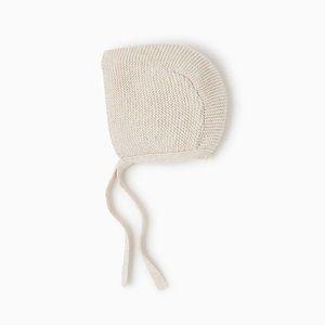 Zara Mini Beige Knit Bonnet with Ties